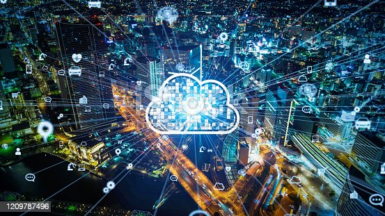 622809570 istock photo Cloud computing concept. Smart city. Communication network. 1209787496