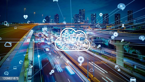 622809570 istock photo Cloud computing concept. Smart city. Communication network. 1209831873