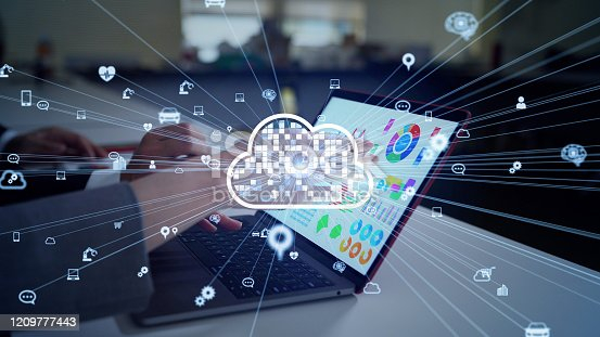 861122560 istock photo Cloud computing concept. Software as a Service. SaaS. Communication network. 1209777443