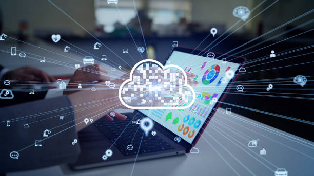 Cloud computing concept. Software as a Service. SaaS. Communication network. stock photo