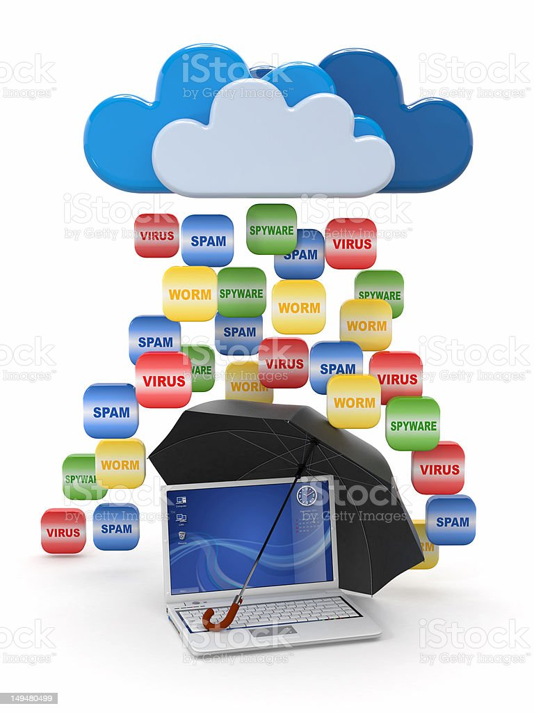 Cloud computing concept. Virus, spam protection royalty-free stock photo