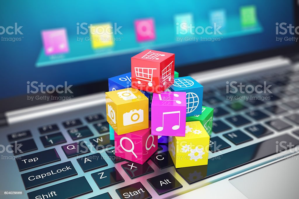 Cloud computing concept: white laptop with  of color application icons stock photo
