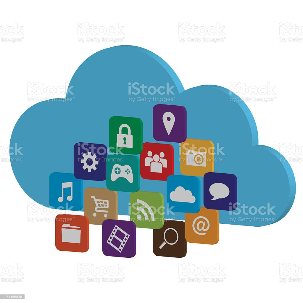 Cloud Computing Concept with Application Icons stock photo