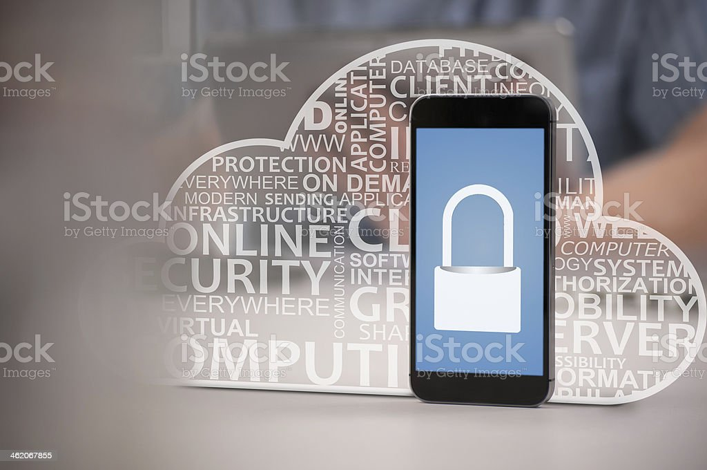 Cloud computing concept with black smartphone stock photo