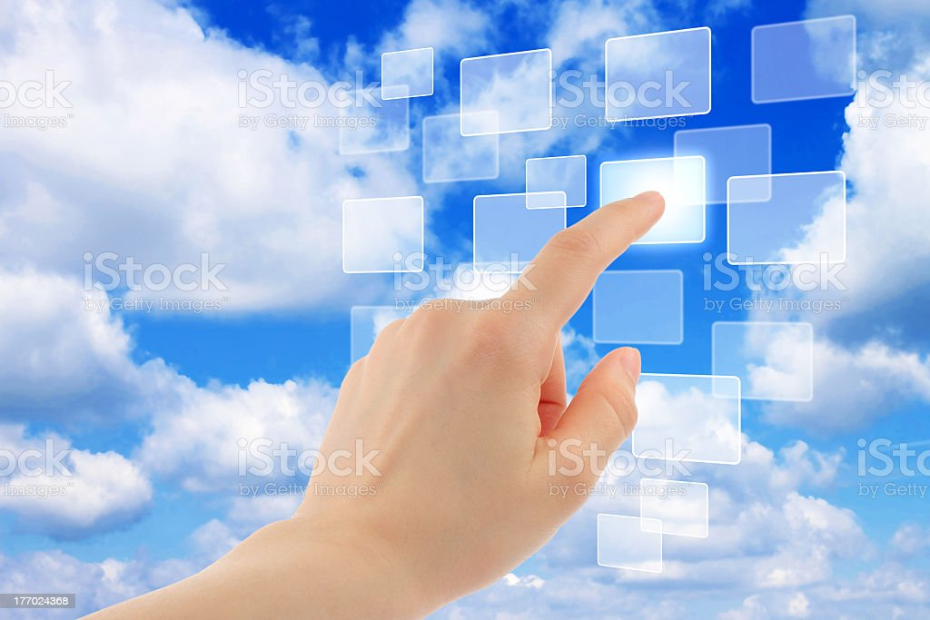 Cloud computing concept with female hand pointing to icons royalty-free stock photo