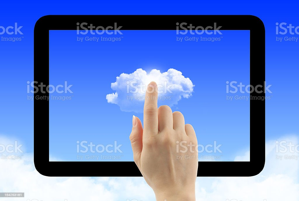 Cloud computing concept with tablet pc frame royalty-free stock photo