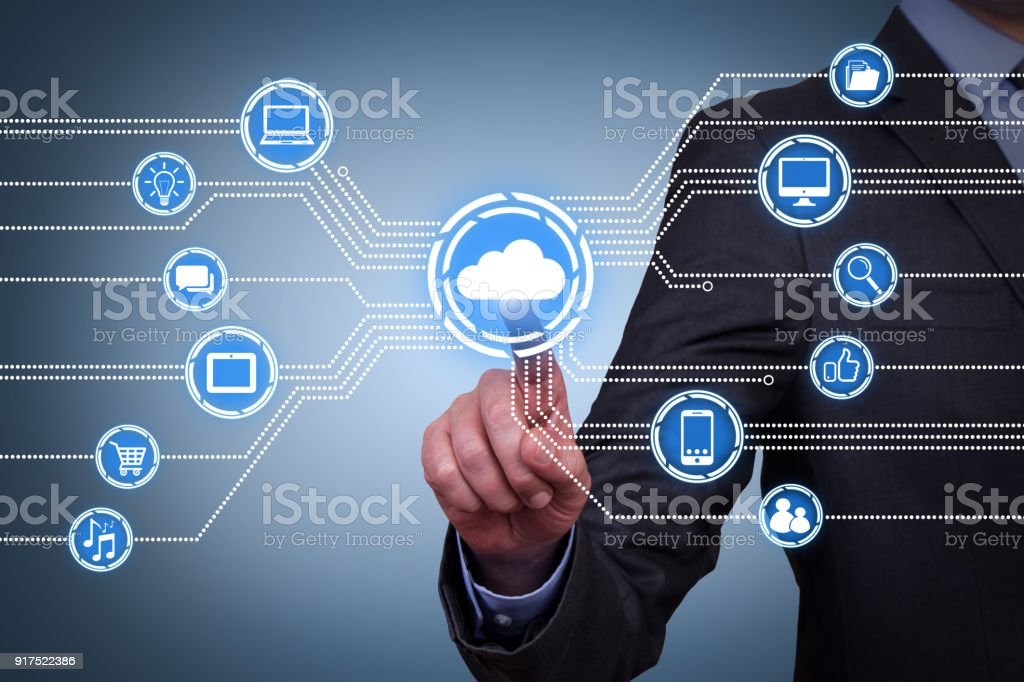 Cloud Computing Concepts on Touch Screen - Foto stock royalty-free di Adulto