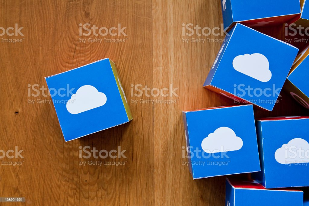 Cloud computing cubes on wooden background royalty-free stock photo