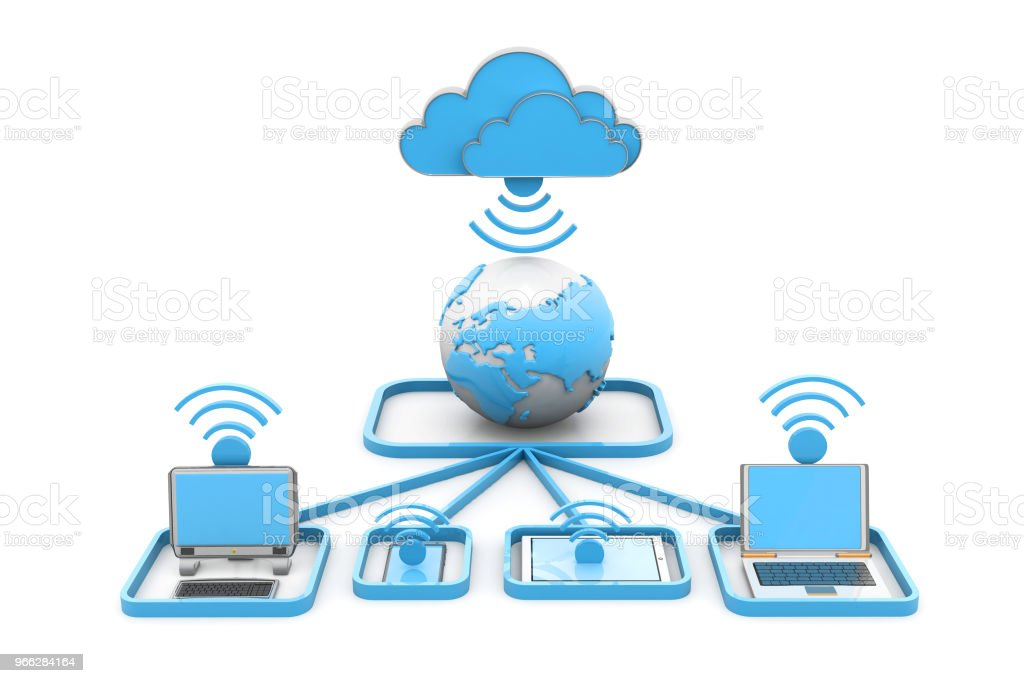 Cloud computing devices stock photo