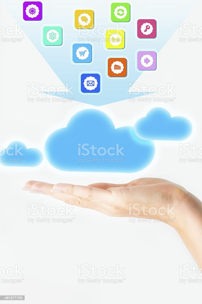 Cloud computing file sharing stock photo
