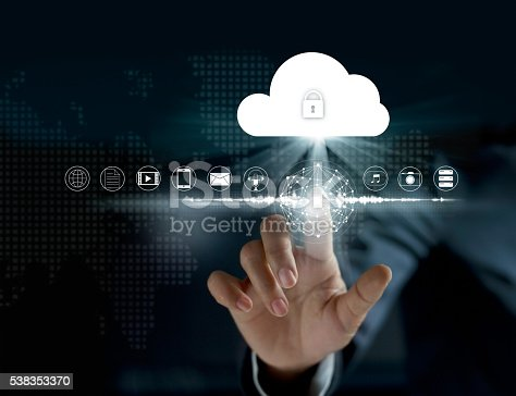istock Cloud computing, futuristic display technology connectivity concept 538353370