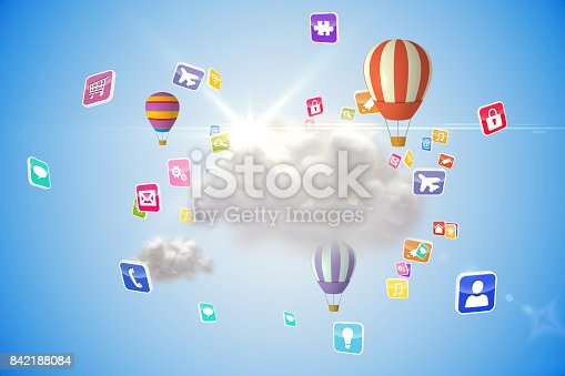 istock Cloud computing graphic with hot air balloons 842188084