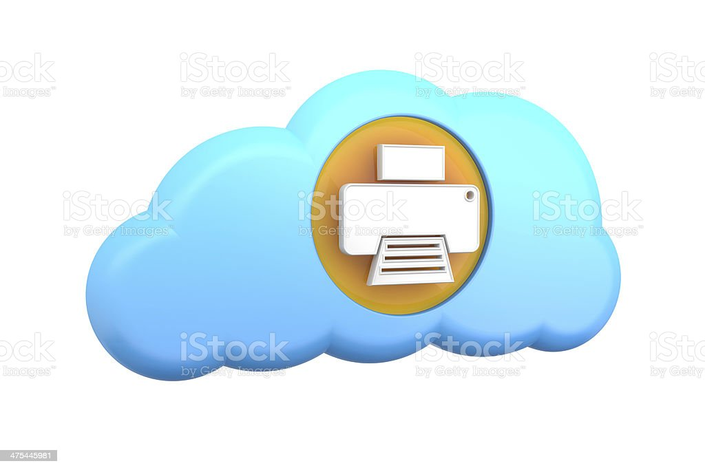 cloud computing icon: print or printer stock photo