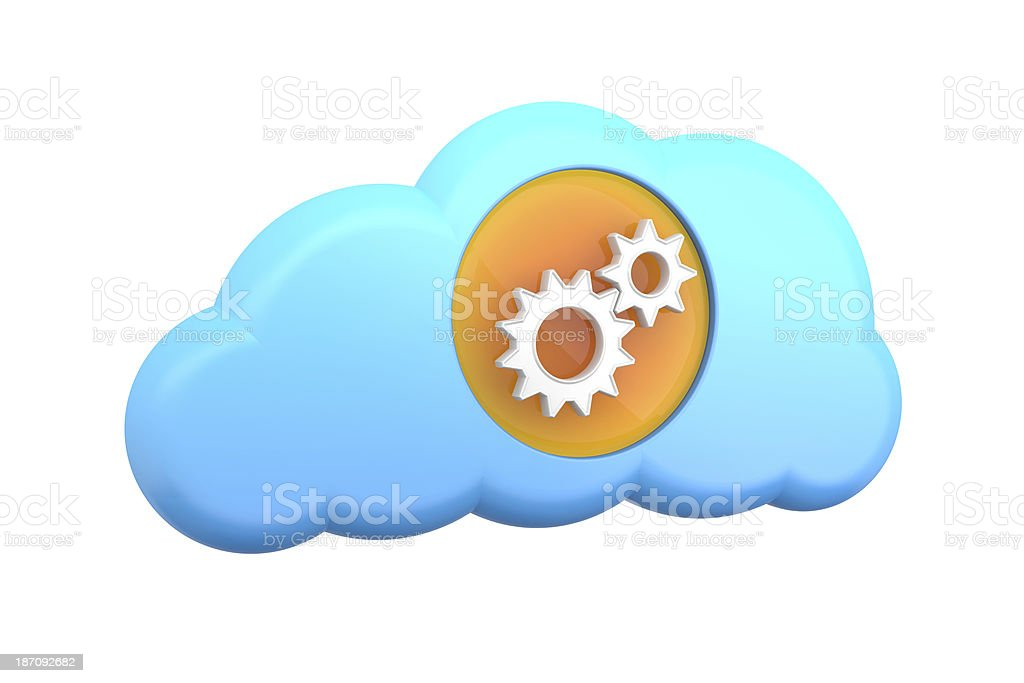 cloud computing icon: settings or support royalty-free stock photo
