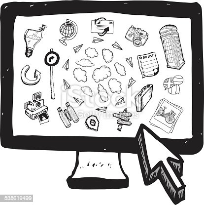 istock Cloud computing illustrations on computer screen 538619499