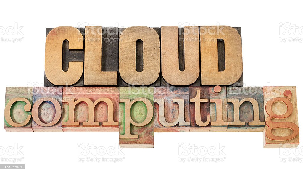 cloud computing in wood type royalty-free stock photo