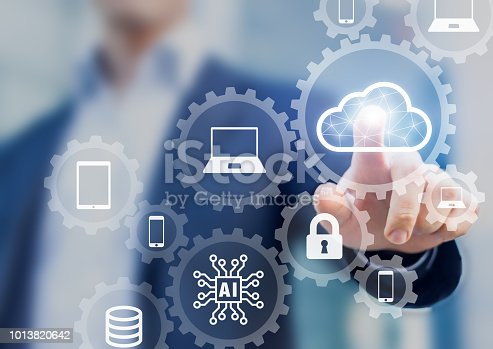 istock Cloud computing information technology concept, data processing and storage platform connected to internet network, specialist engineering system 1013820642
