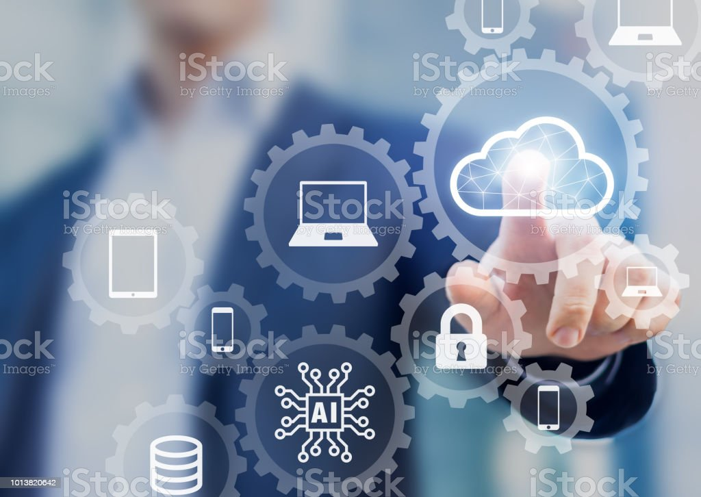 Cloud computing information technology concept, data processing and storage platform connected to internet network, specialist engineering system stock photo