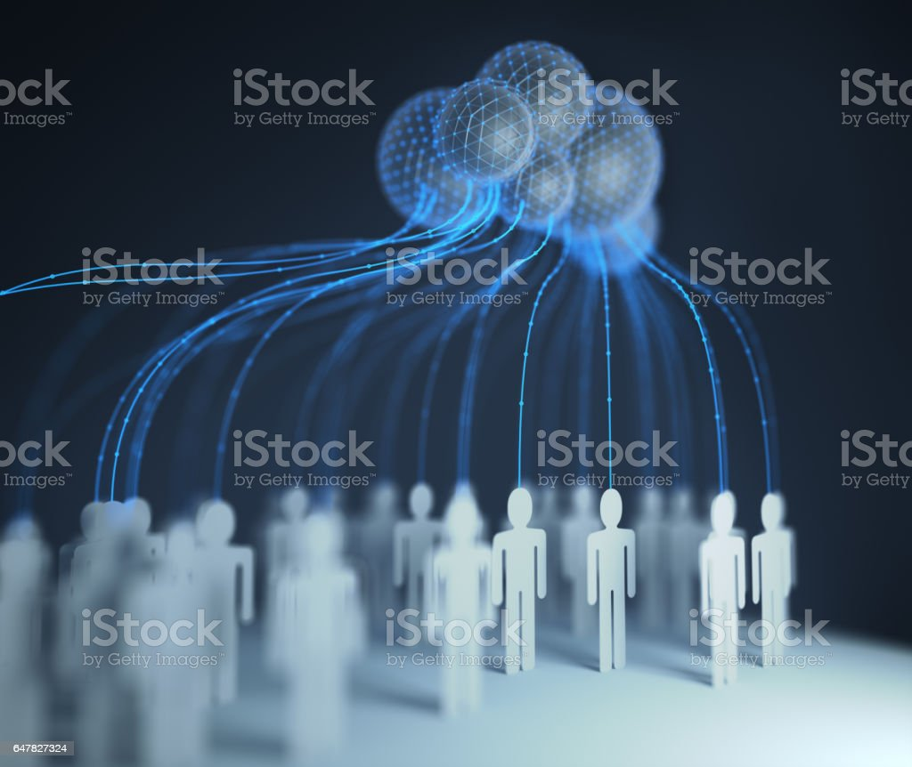 Cloud Computing Interconnected People royalty-free stock photo