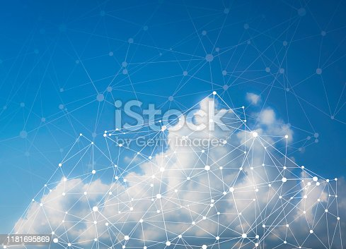 Cloud Computing Network Concept - Photograph of clouds, sky and illustration of network with space for copy
