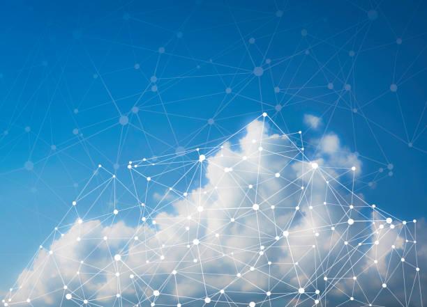red de computación en la nube - copiar espacio - nube fotografías e imágenes de stock