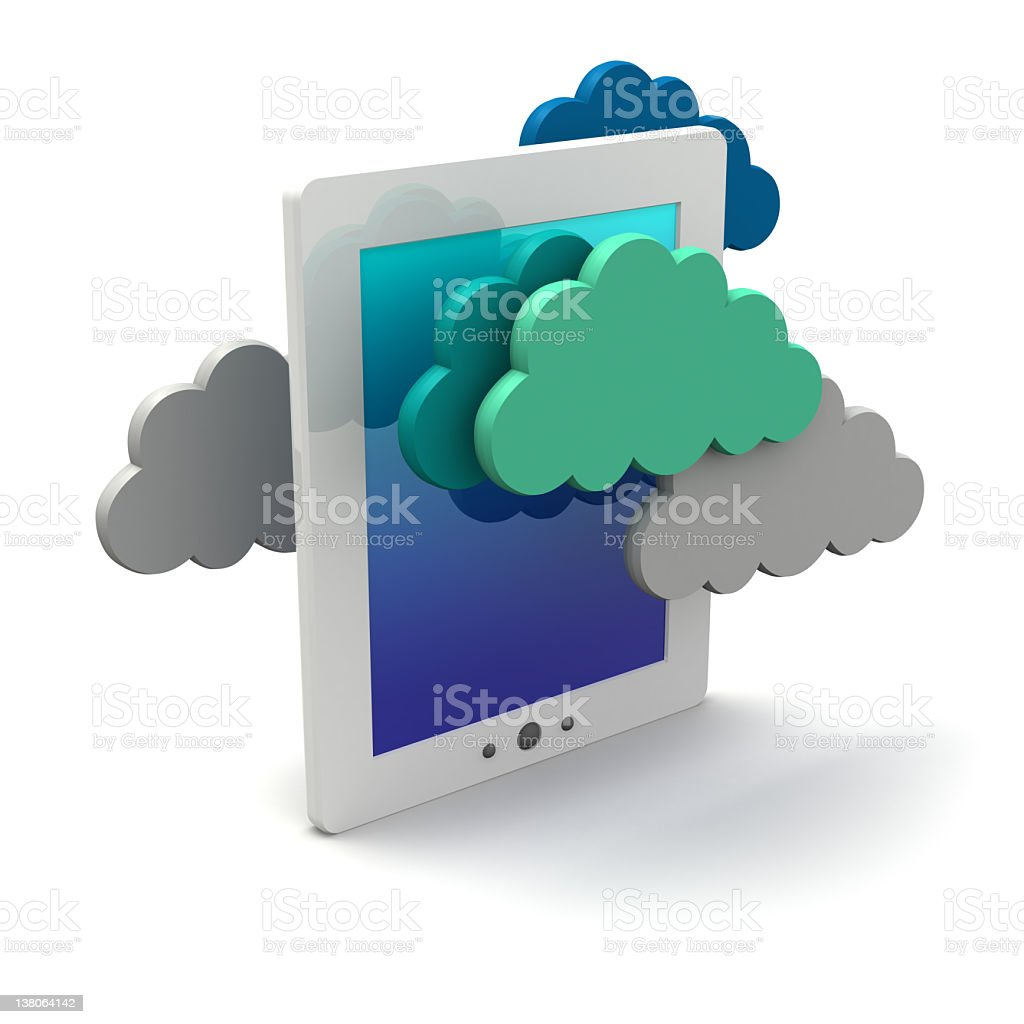 Cloud computing on a tablet royalty-free stock photo