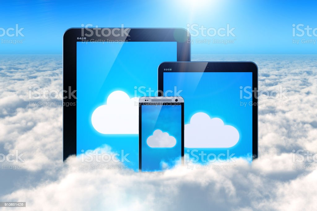 Cloud computing on mobile devices stock photo