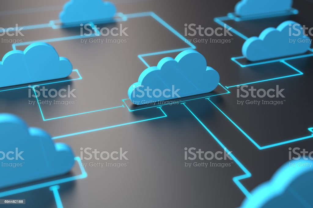 Cloud computing or cloud network concept stock photo
