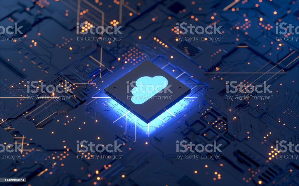 Cloud computing Cloud computing and network security concept, 3d rendering,conceptual image. Backgrounds Stock Photo