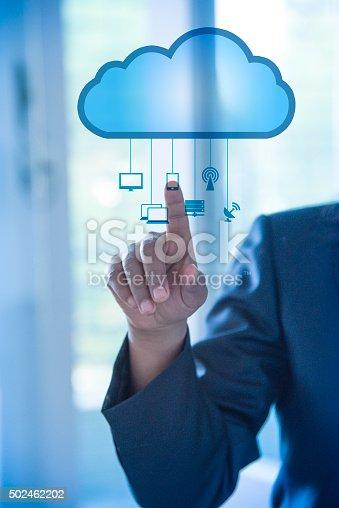 hand touching visual screen