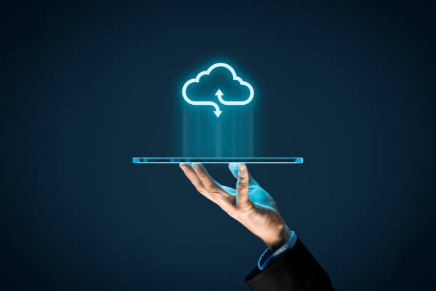 Cloud computing Cloud computing concept - connect devices to cloud. Businessman or information technologist with cloud computing icon and tablet. cloud computing stock pictures, royalty-free photos & images