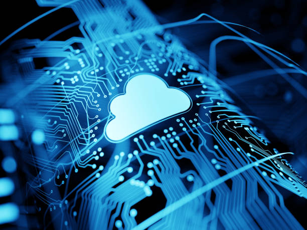 Cloud computing Futuristic design of a cloud network computing cloud computing stock pictures, royalty-free photos & images