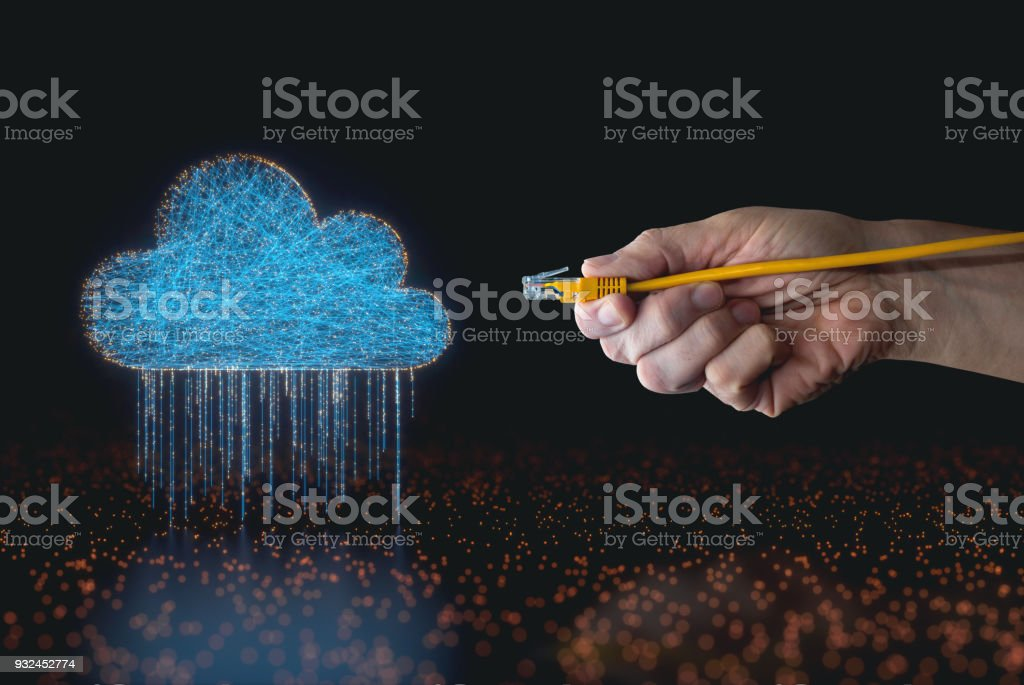 Cloud Computing RJ45 Cable stock photo