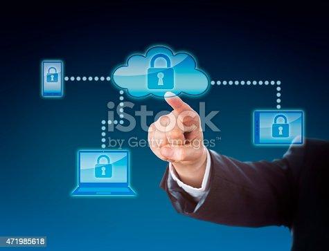 488497362istockphoto Cloud Computing Security Metaphor In Blue 471985618
