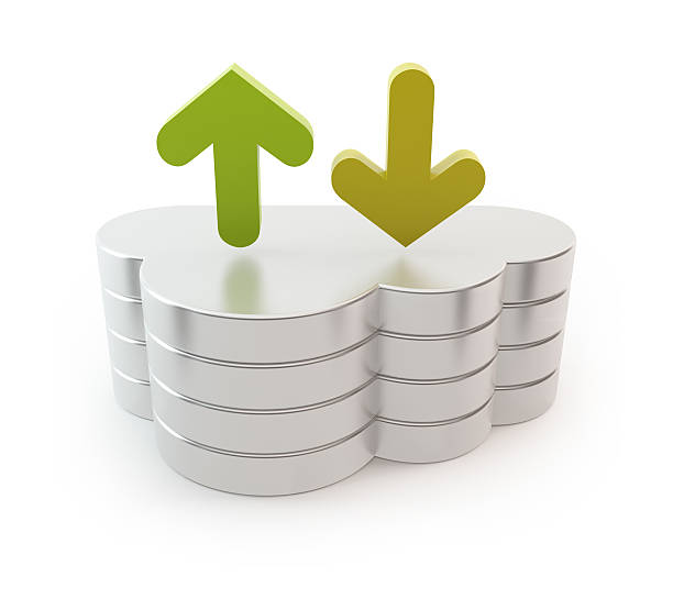 Cloud computing server - upload and download arrow stock photo