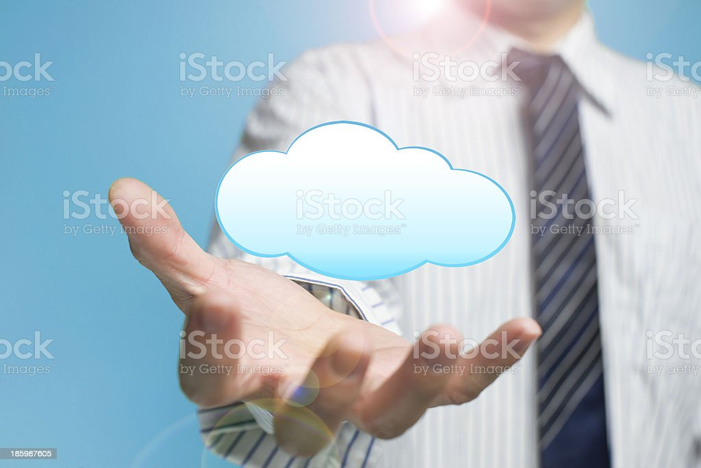 Cloud computing service concept a palm opening businessman royalty-free stock photo