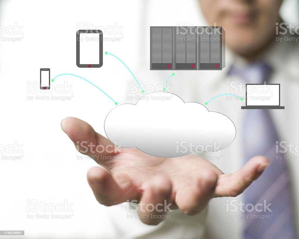Cloud computing service with a business man and  office background royalty-free stock photo