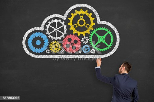 istock Cloud Computing Solution Gear on Blackboard Background 537850916