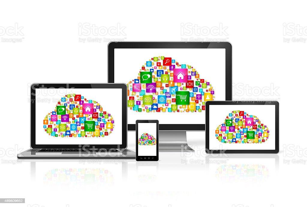 Cloud computing symbol in computer set stock photo