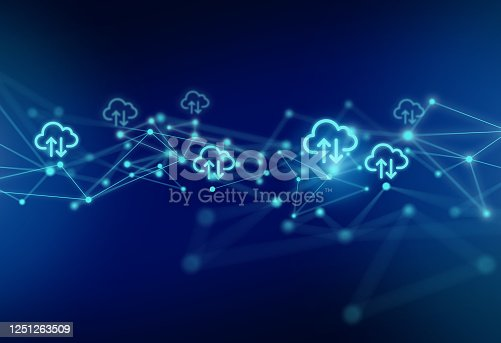 istock Cloud Computing Symbols with Network Polygon Graphic Abstract Background 1251263509