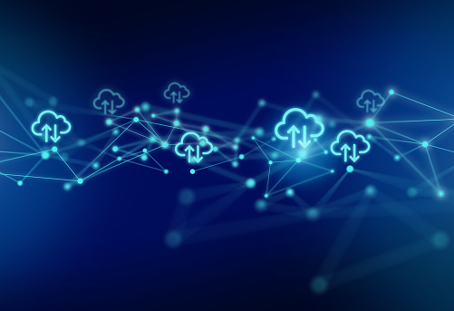 Cloud Computing Symbols with Network Polygon Graphic Abstract Background.