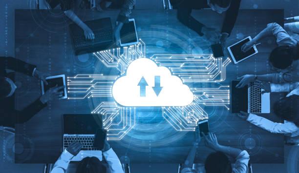 tecnologia de computação em nuvem e armazenamento de dados on-line para conceito de rede de negócios. - nuvem - fotografias e filmes do acervo