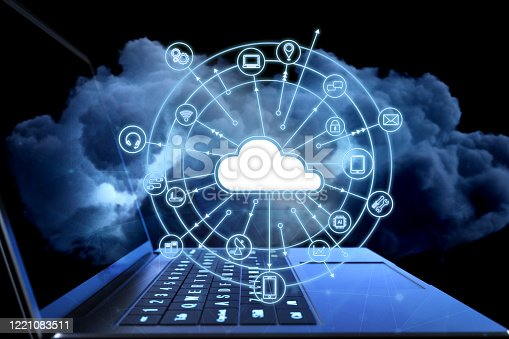 Cloud computing technology concept with 3d rendering computer notebook with cloud icons