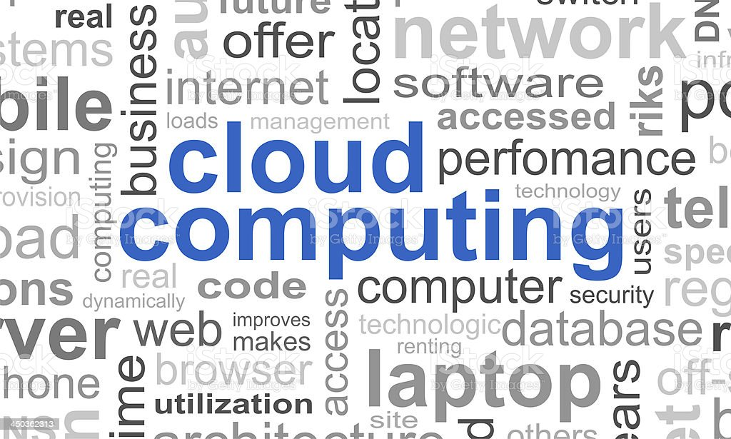 Cloud computing typographic template background stock photo