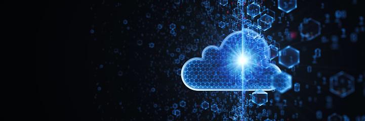 Big data. Cloud Computing Concept. 3D render