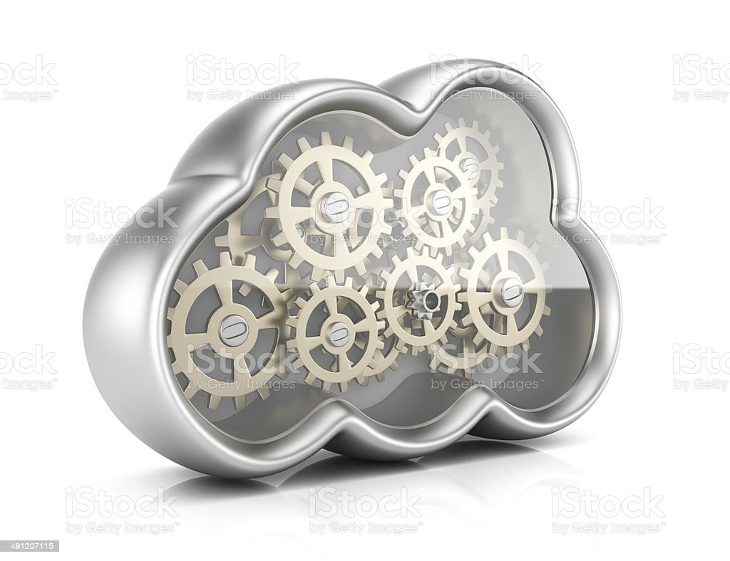 Cloud computing with gears royalty-free stock photo
