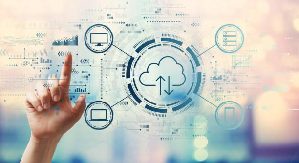 computación en la nube pulsando un botón - nube fotografías e imágenes de stock