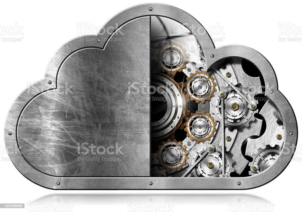 Cloud Computing with Metal Gears stock photo