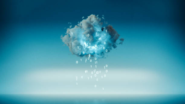 le cloud computing avec pluie code machine - informatique en nuage photos et images de collection