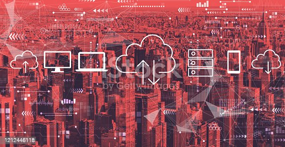 istock Cloud computing with the New York City 1212446118